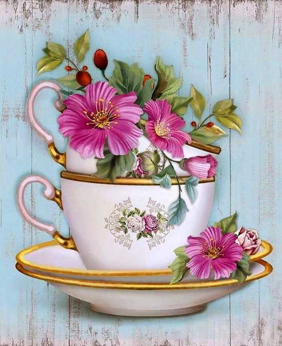 Картина по номерам 40x50 Нежные цветочки в чайной чашке